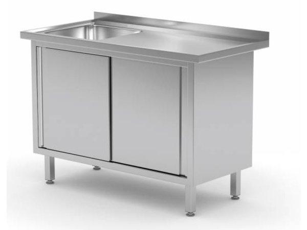 XXLselect Schrank + Sink (links) 400x400x (h) 250 + 2 Schiebetüren | Heavy Duty | 800 (b) x600 (d) mm | AUSWAHL 12 WIDTHS