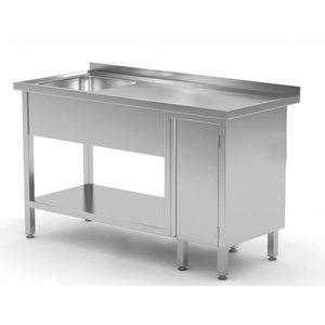 XXLselect Sink + Bottom Shelf + 1 Pendeltür | Sink 400x400x (h) 250 | 1000 (b) x600 (d) mm | Auswahl von 10 WIDTHS