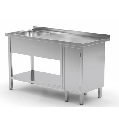 XXLselect Sink + Bottom Shelf + 1 Pendeltür | Sink 400x400x (h) 250 | 1000 (b) x600 (d) mm | Auswahl von 10 WIDTHS