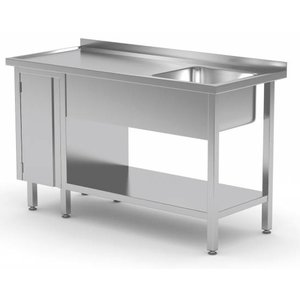 XXLselect Sink + Bottom Shelf + 1 Pendeltür | Sink 400x400x250 (h) | 1000 (b) x600 (d) mm | Auswahl von 10 WIDTHS