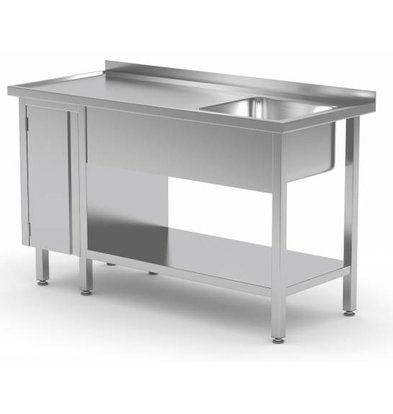 XXLselect Sink + Bottom Shelf + 1 Pendeltür | Sink 400x400x250 (h) | 1000 (b) x600 (d) mm | Auswahl von 10 WIDTHS