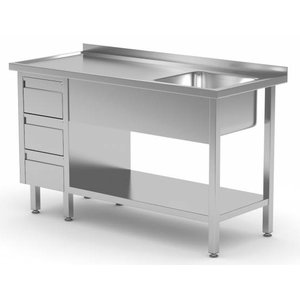 XXLselect Sink + Bottom Shelf + 3 Schubladen | Sink 400x400x (h) 250 | 1000 (b) x600 (d) mm | Auswahl von 10 WIDTHS