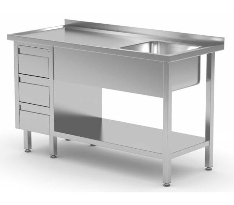 XXLselect Sink + Bottom Shelf + 3 Schubladen | Sink 400x400x (h) 250 | 1000 (b) x600 (d) mm | Auswahl von 10 WIDTHS