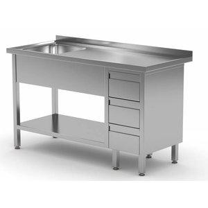 XXLselect Sink + Bottom Shelf + 3 drawers | Sink 400x400x (h) 250 | 1000 (b) x (d) 600mm | CHOICE OF 10 WIDTHS