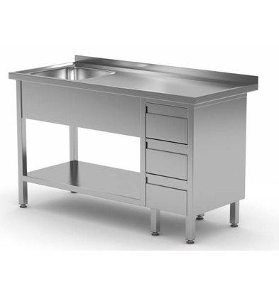 XXLselect Sink + Bottom Shelf + 3 Schubladen | Sink 400x400x (h) 250 | 1000 (b) x (d) 600mm | Auswahl von 10 WIDTHS