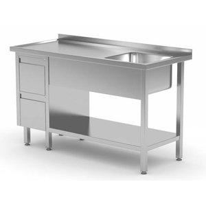 XXLselect Sink + Bottom Shelf + 2 Schubladen | Sink XXL 500x400x (h) 250 | 1000 (b) x700 (d) mm | Auswahl von 10 WIDTHS