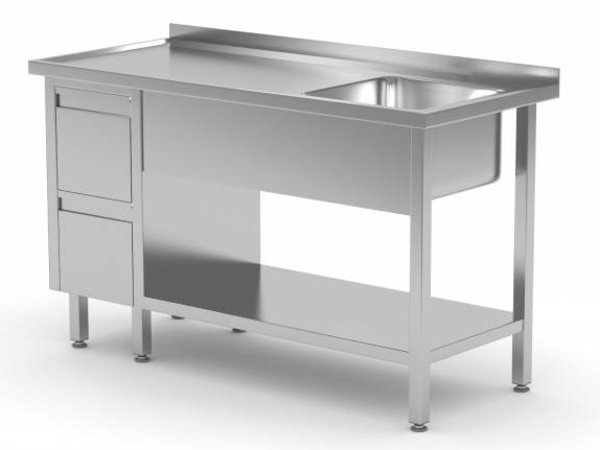 XXLselect Sink + Bottom Shelf + 2 drawers | Sink XXL 500x400x (h) 250 | 1000 (b) x700 (d) mm | CHOICE OF 10 WIDTHS