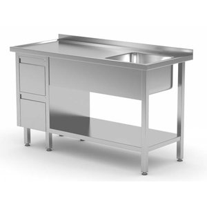 XXLselect Sink + Bottom Shelf + 2 drawers | Sink 400x400x (h) 250 | 1000 (b) x600 (d) mm | CHOICE OF 10 WIDTHS