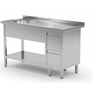 XXLselect Sink + Bottom Shelf + 2 Schubladen | Sink 400x400x (h) 250 | 1000 (b) x600 (d) mm | Auswahl von 10 WIDTHS