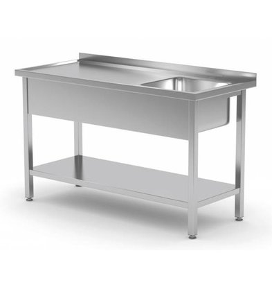 XXLselect Sink Stainless Steel + Bottom Shelf | Sink 400x400x250 (h) | 800 (b) x600 (d) mm | CHOICE OF 12 WIDTHS
