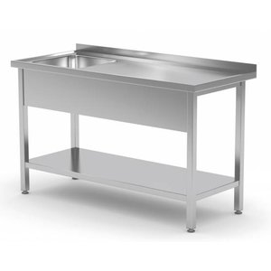 XXLselect Spüle Edelstahl + Bottom Shelf | Sink 400x400x250 (h) | 800 (b) x600 (d) mm | AUSWAHL 12 WIDTHS