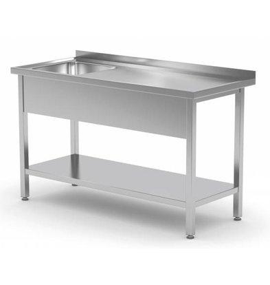 XXLselect Sink Stainless Steel + Bottom Shelf | Sink 400x400x250 (h) | 800 (b) x600 (d) mm | CHOICE OF 12 WIDTHS