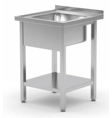XXLselect Sink Stainless Steel + Bottom Shelf | Sink XXL 500x400x250 (h) | 600 (b) x700 (d) mm | CHOICE OF 2 WIDTHS