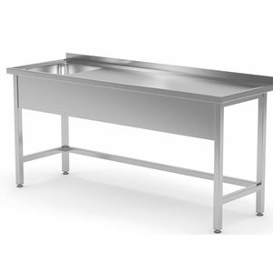 XXLselect Stainless Steel Sink + Splash Edge + Sink XXL 500x400x (h) 250 Links | 1200 (b) x700 (d) mm | CHOICE OF 8 WIDTHS