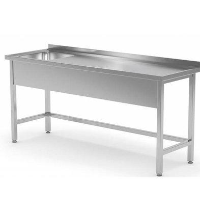 XXLselect Edelstahl-Wannen + Splash Rand + Sink XXL 500x400x (h) 250 Links | 1200 (b) x700 (d) mm | Auswahl von 8 WIDTHS