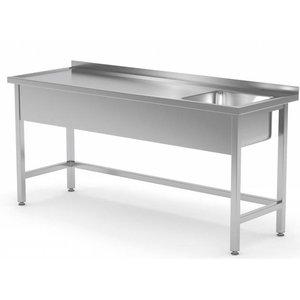 XXLselect Stainless Steel Sink + Sink + Splash Edge 400x400x250 (h) Right | 1200 (b) x600 (d) mm | CHOICE OF 8 WIDTHS
