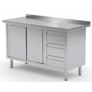 XXLselect Cupboard SS + 3 drawers (right) + 2 + Mud Sliding Edge | 1200 (b) x600 (d) mm | CHOICE OF 8 WIDTHS