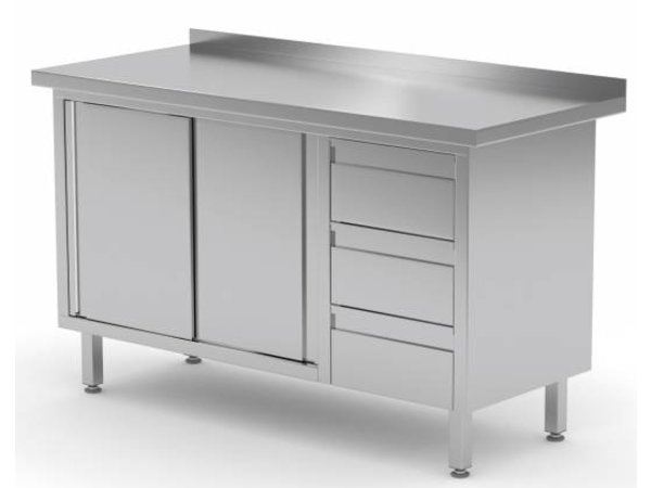 XXLselect Cupboard SS + 3 drawers (right) + 2 + Mud Sliding Edge | 1200 (b) x600 (d) mm | CHOICE OF 8 WIDTHS