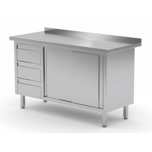 XXLselect Cupboard SS + 3 Drawers (left) + 2 + Mud Sliding Edge | 1200 (b) x600 (d) mm | CHOICE OF 8 WIDTHS