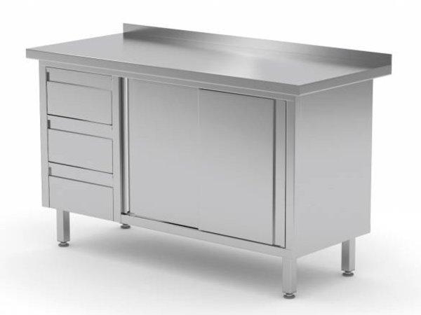 XXLselect Cupboard SS + 3 Drawers (left) + 2 + Mud Sliding Edge | 1200 (b) x600 (d) mm | CHOICE OF 8 WIDTHS