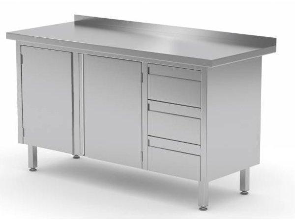 XXLselect Cupboard SS + 3 drawers (right) + 2 Swing doors + Splash-Rand | 1100 (b) x700 (d) mm | CHOICE OF 9 WIDTHS