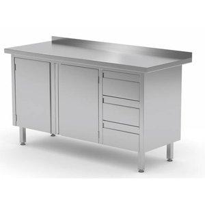 XXLselect Cupboard SS + (right) 3 drawers + 2 Swing doors + Splash-Rand | 1100 (b) x600 (d) mm | CHOICE OF 8 WIDTHS