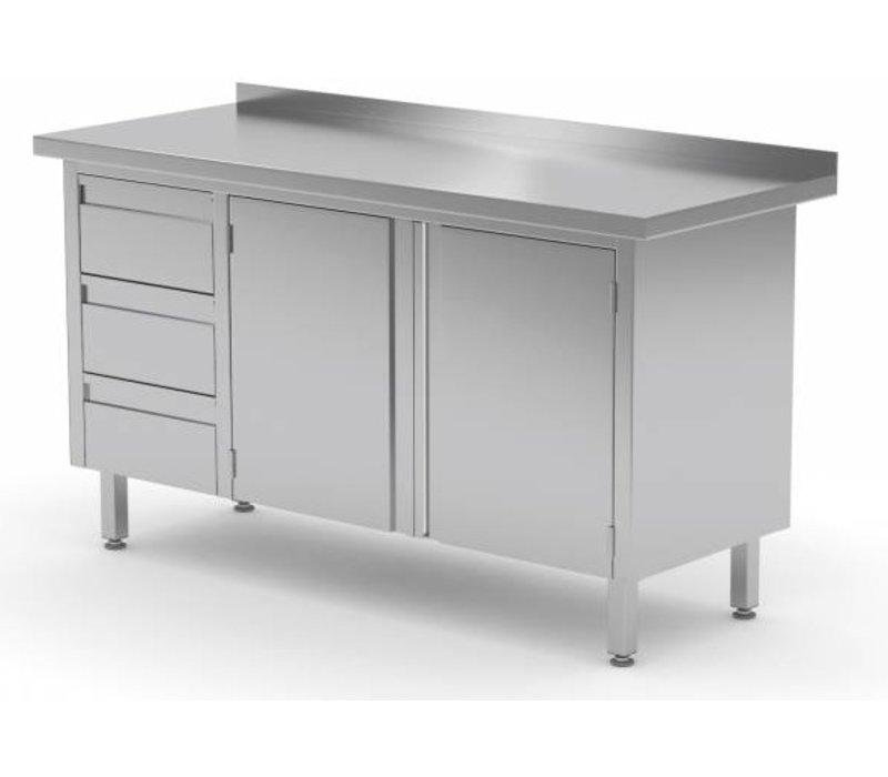 XXLselect Cupboard SS + 3 Drawers (left) + 2 Swing doors + Splash-Rand | 1100 (b) x600 (d) mm | CHOICE OF 8 WIDTHS