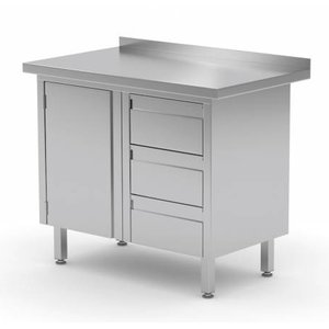XXLselect Cupboard SS + Drawer unit (right) 3 drawers + Swing door + Splash-Rand | 830 (b) x600 (d) mm | CHOICE OF 3 WIDTHS