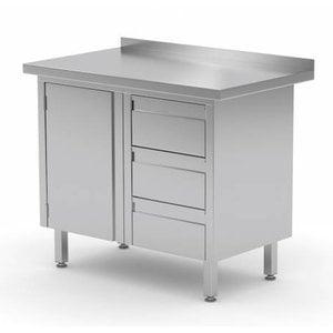 XXLselect Cupboard SS + Drawer unit (right) 3 drawers + Swing door + Splash-Rand | 830 (b) x600 (d) mm | CHOICE OF 3 WIDTHS