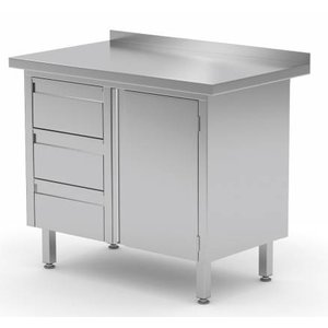 XXLselect Cupboard SS + Drawer unit (left) 3 drawers + Swing door + Splash-Rand | 830 (b) x600 (d) mm | CHOICE OF 3 WIDTHS