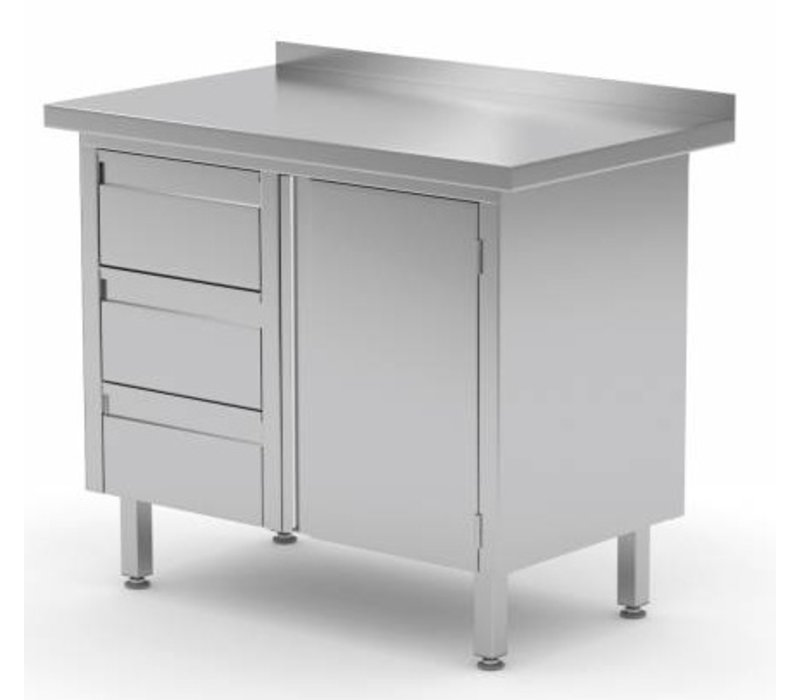 XXLselect Cupboard SS + Drawer unit (left) 3 drawers + Swing door + Splash-Rand   830 (b) x600 (d) mm   CHOICE OF 3 WIDTHS