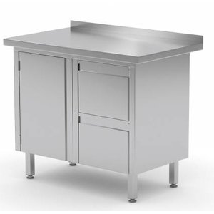 XXLselect Cupboard SS + Drawer unit (right) 2 drawers + Swing door + Splash-Rand | 800 (b) x600 (d) mm | CHOICE OF 3 WIDTHS