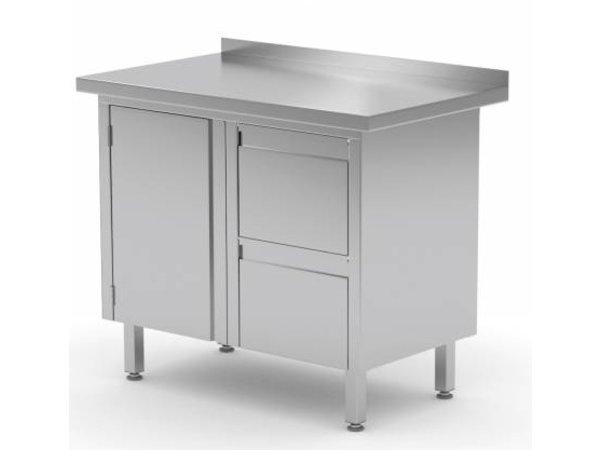 XXLselect Cupboard SS + Drawer unit (right) 2 drawers + Swing door + Splash-Rand | 800 (b) x600 (d) mm | CHOICE OF 3 WIDTHS
