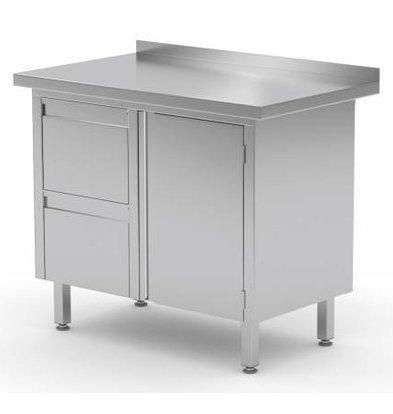 XXLselect Cupboard SS + Drawer unit (left) + 2 drawers Swing door + Splash-Rand | 800 (b) x600 (d) mm | CHOICE OF 3 WIDTHS