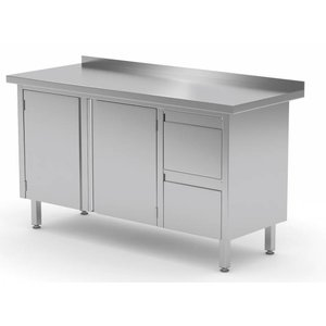 XXLselect Cupboard SS + 2 drawers (right) + 2 Swing doors + Splash-Rand | 1100 (b) x600 (d) mm | CHOICE OF 9 WIDTHS