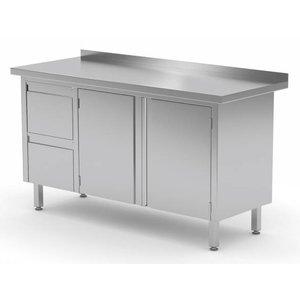 XXLselect Cupboard SS + Ladeblok 2 drawers (left) + 2 Swing doors + Splash-Rand | 1100 (b) x700 (d) mm | CHOICE OF 8 WIDTHS