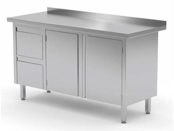 XXLselect Cupboard SS + 2 drawers (left) + 2 Swing doors + Splash-Rand   1100 (b) x600 (d) mm   CHOICE OF 9 WIDTHS
