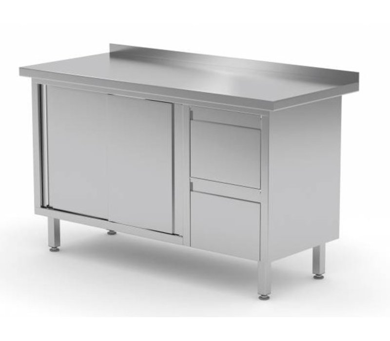 XXLselect Cupboard SS + 2 drawers (right) + 2 + Mud Sliding Edge | 1200 (b) x600 (d) mm | CHOICE OF 8 WIDTHS