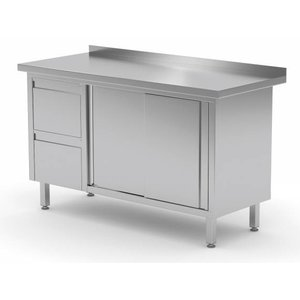 XXLselect Cupboard SS + 2 Drawers (left) + 2 + Sliding Splash Rand | 1200 (b) x700 (d) mm | CHOICE OF 8 WIDTHS