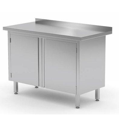 XXLselect Cupboard SS + 2 Swing doors + Splash-Rand | HEAVY DUTY | 700 (b) x600 (d) mm | CHOICE OF 8 WIDTHS