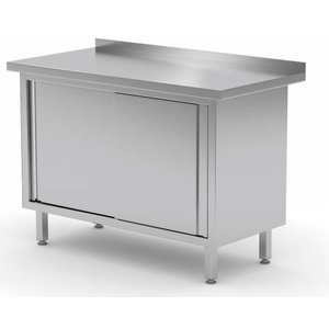 XXLselect Stainless steel work table + 2 + Mud Sliding Edge | HEAVY DUTY | 800 (b) x600 (d) mm | CHOICE OF 12 WIDTHS