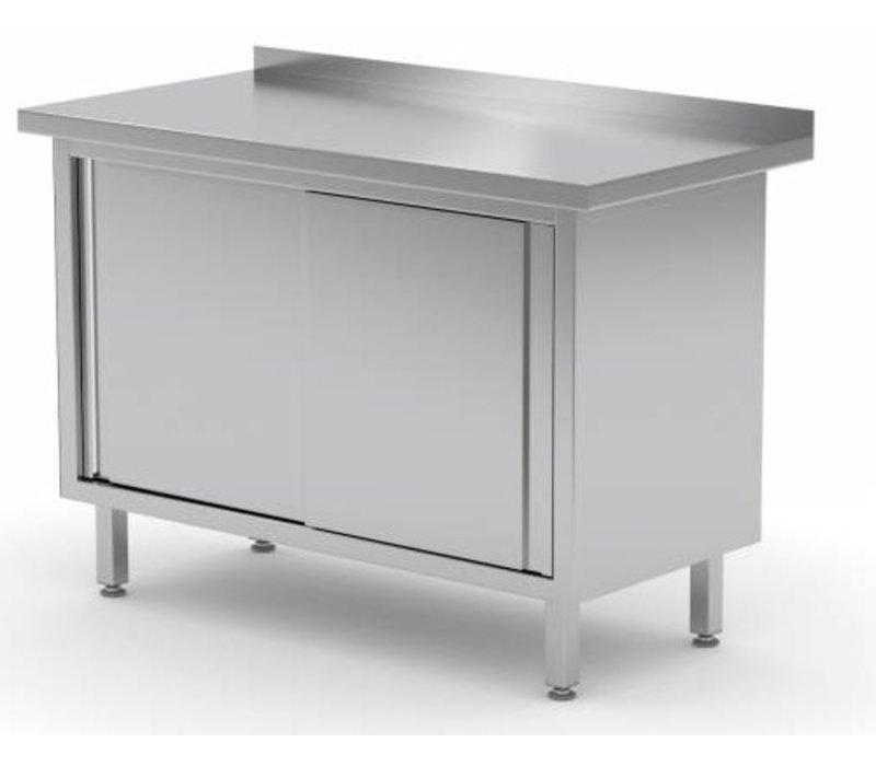 XXLselect Stainless steel work table + 2 + Mud Sliding Edge | HEAVY DUTY | 800 (b) x600 (d) mm | CHOICE OF 12 WIDTHS
