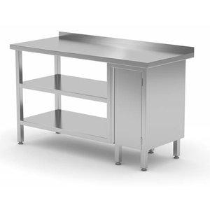 XXLselect Stainless steel worktable + 1 + Swing door Double Bottom Shelf + Splash-Rand | 800 (b) x600 (d) mm | CHOICE OF 12 WIDTHS