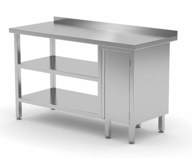 XXLselect Edelstahl-Arbeitstisch + 1 + Pendeltür Double Bottom Shelf + Splash-Rand | 800 (b) x600 (d) mm | AUSWAHL 12 WIDTHS