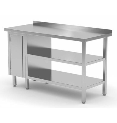 XXLselect Edelstahl-Arbeitstisch + 1 + Pendeltür Double Bottom Shelf + Splash-Rand | 800 (b) x700 (d) mm | AUSWAHL 12 WIDTHS