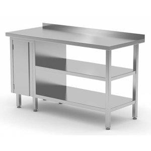 XXLselect Stainless steel worktable + 1 + Swing door Double Bottom Shelf + Splash-Rand   800 (b) x600 (d) mm   CHOICE OF 12 WIDTHS