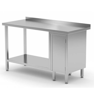XXLselect Stainless steel worktable + 1 lift system (right) + Bottom Shelf + Splash-Rand | 800 (b) x600 (d) mm | CHOICE OF 12 WIDTHS