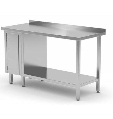 XXLselect Stainless steel worktable + 1 lift system (left) + Bottom Shelf + Splash-Rand | 800 (b) x600 (d) mm | CHOICE OF 12 WIDTHS