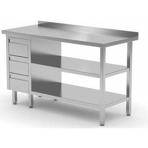 XXLselect Edelstahl-Arbeitstisch + Ladeblok 3 Schubladen + 2x + Bottom Shelf Rand Splash | 800 (b) x600 (d) mm | AUSWAHL 12 WIDTHS