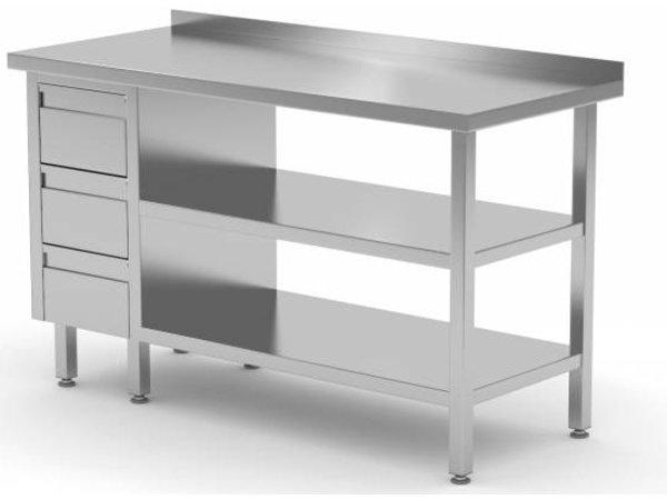 XXLselect Edelstahl-Arbeitstisch + Ladeblok 3 Schubladen + 2x + Bottom Shelf Rand Splash   800 (b) x600 (d) mm   AUSWAHL 12 WIDTHS